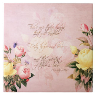 Faith Hope and Love Roses Large Square Tile