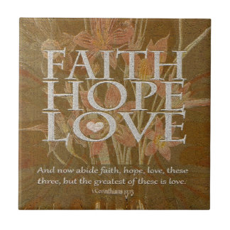 Faith Hope and Love Small Square Tile
