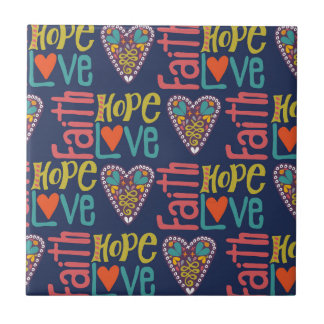 Faith Hope and Love Word Art Small Square Tile