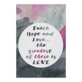 Faith Hope & Love Abstract art poster print