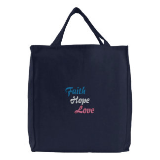Faith Hope Love Embroidered Bag
