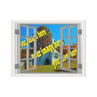 Fake Window Create Your Own White Grey Canvas Print