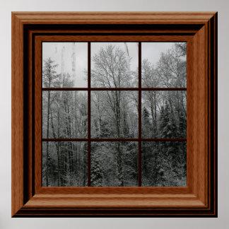 Fake Window Poster Winter Snow Scene Trees Icicles