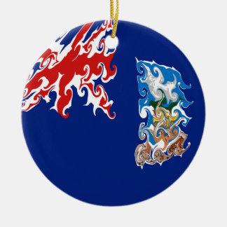 Falkland Islands Gnarly Flag Round Ceramic Decoration