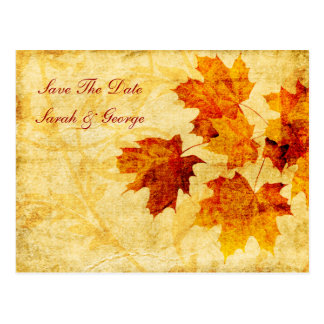 fall autumn brown leaves save the date postcard