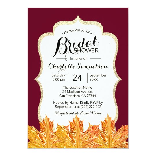 Fall Autumn Burgundy Gold Glitter Bridal Shower Card