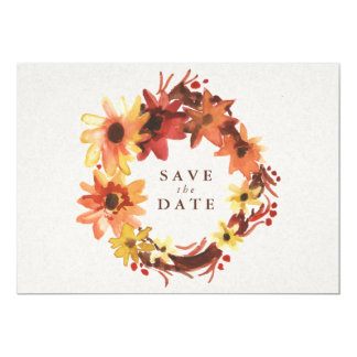 Fall /Autumn Flowers Wedding Save the Date Card