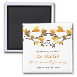 Fall Autumn Knotted Love Trees Save The Date Magnet