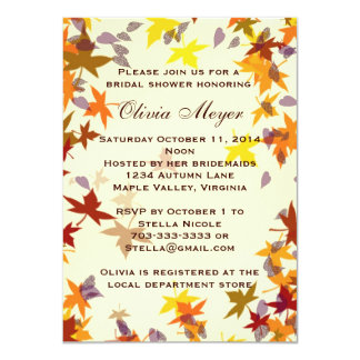 Fall Autumn Leaves Bridal Shower Invitation