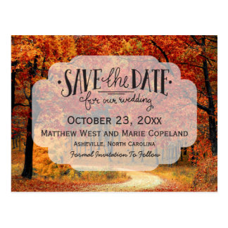 Fall Autumn Leaves Rustic Wedding Save The Date Postcard