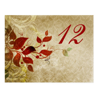 fall autumn  leaves wedding table seating card postcard