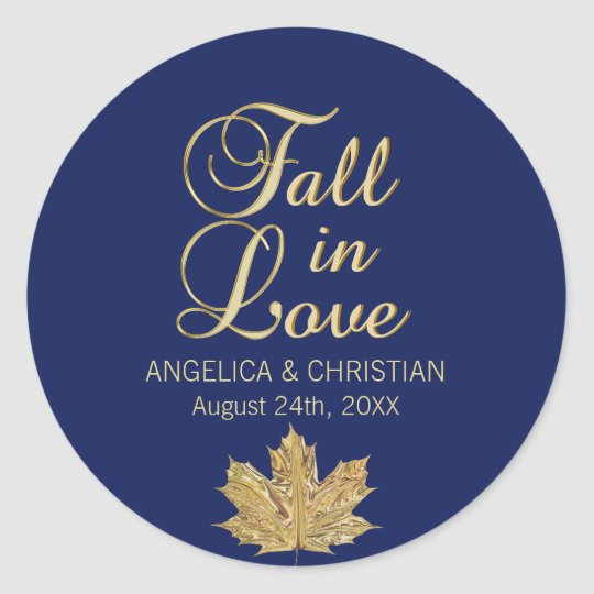 Fall Autumn Navy Blue Gold FALL IN LOVE Wedding Classic Round Sticker