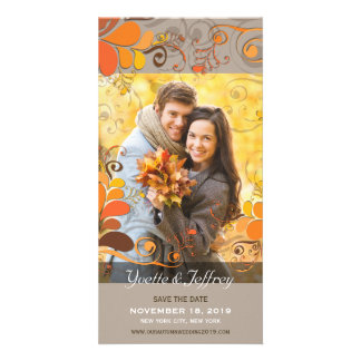 Fall Autumn Rustic Floral Leaves Save The Date Photo Greeting Card