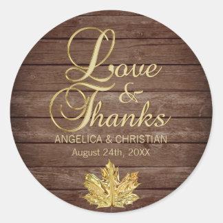 Fall Autumn Rustic Gold LOVE & THANKS Wedding Classic Round Sticker