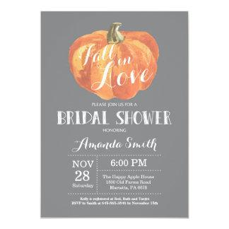 Fall Bridal Shower Invitation Card Grey