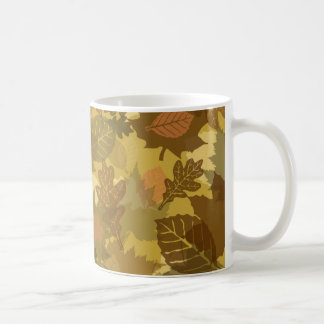 fall camo leaves pattern basic white mug