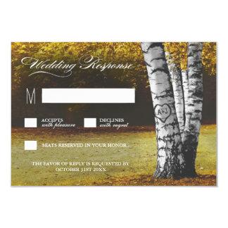 Fall Carved Heart Birch Tree Wedding RSVP Cards 9 Cm X 13 Cm Invitation Card