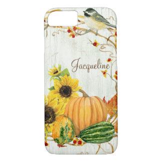 Fall Chickadee Sunflower Pumpkin Bittersweet Leaf iPhone 8/7 Case