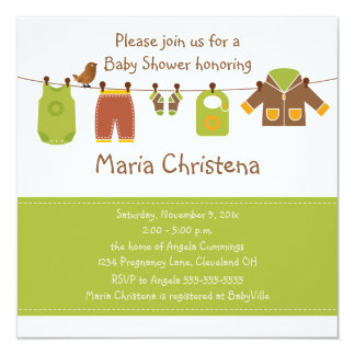 Fall Clothesline Baby Shower Invitation (Green)
