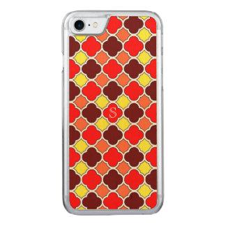 Fall Colors Red Orange Yellow Quatrefoil Monogram Carved iPhone 7 Case