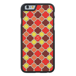 Fall Colors Red Orange Yellow Quatrefoil Monogram Carved Maple iPhone 6 Case