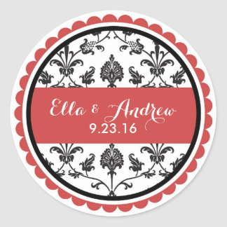 Fall damask red wedding bridal shower stickers