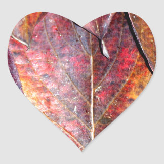 Fall Dogwood Leaves Heart Sticker