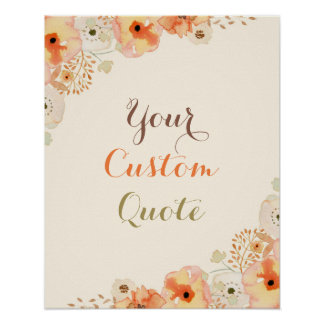 Fall floral Personalized quote Custom quote print
