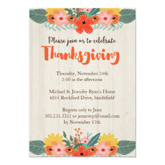 Fall Floral Thanksgiving Invitation
