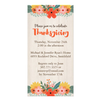 Fall Floral Thanksgiving Invitation Picture Card
