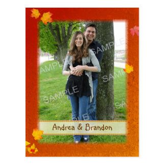 Fall Frame Photo Engagement Notice Cards Postcard