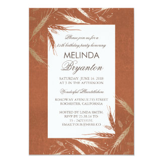 Fall Gold Wheat Orange Rustic Birthday Party 13 Cm X 18 Cm Invitation Card