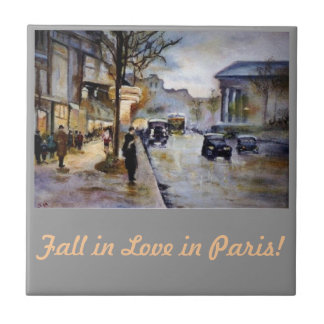 Fall in Love in Paris! Small Square Tile