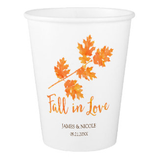 Fall in Love Orange Watercolor Leaves Wedding Paper Cup