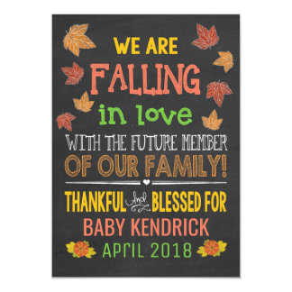 Fall In Love Pregnancy Announcement 5x7
