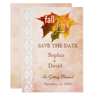 Fall in Love Wedding SAVE THE DATE 11 Cm X 16 Cm Invitation Card