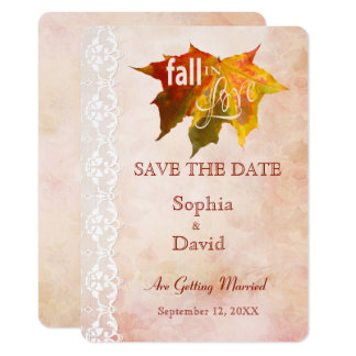 Fall in Love Wedding SAVE THE DATE Card