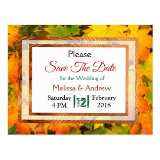 Fall Leaves Autumn Wedding Save the Date Postcard