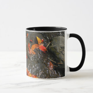 Fall Leaves in Waterfall I Autumn Photography Mug