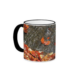 Fall Leaves in Waterfall I Autumn Photography Ringer Mug