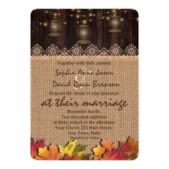 Fall Leaves Lace Burlap Wood Wedding Invite