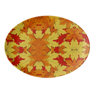 Fall Leaves Pattern Autumn Themed Serving Platter