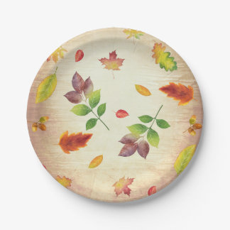 Fall Leaves Rustic Wood Country Barn Wedding 7 Inch Paper Plate