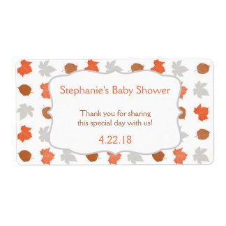 Fall Leaves wedding baby shower Water Bottle Favor Shipping Label