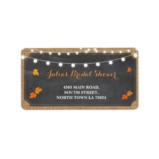 Fall Love Bridal Shower Return Address Label Chalk