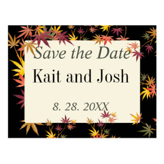 Fall Maple Autumn Wedding Save the Date Postcard
