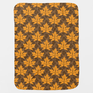 Fall maple leaves in orange & brown autumn colors pram blankets