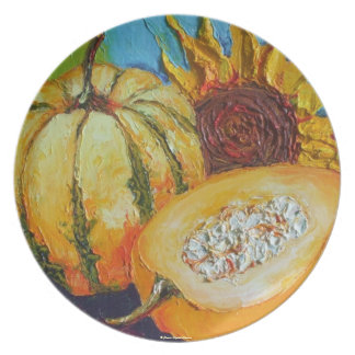Fall Medley Pumpkin, Squash & Sunflower Plate