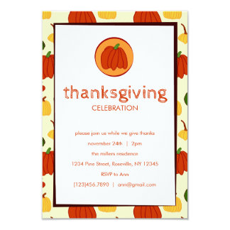 Fall Pumpkins: Customized Thanksgiving Invitation