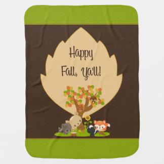 Fall Racoon, Deer, Owl, Skunk, Squirrel & Fox Baby Blanket